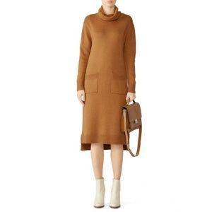 CAARA Midi Sweater Dress Brown Knit Turtleneck